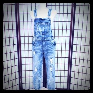 Forever 21 Boho Distressed Denim Overalls Small